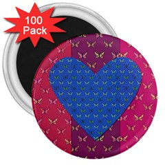 Butterfly Heart Pattern 3  Magnets (100 Pack)