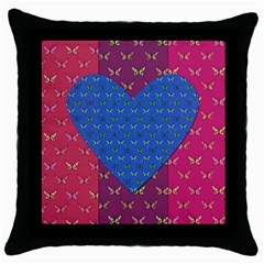 Butterfly Heart Pattern Throw Pillow Case (black)