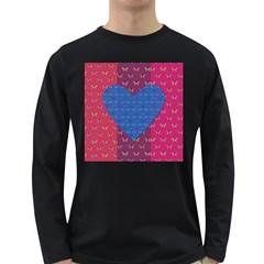 Butterfly Heart Pattern Long Sleeve Dark T-Shirts