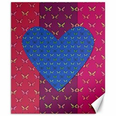 Butterfly Heart Pattern Canvas 8  X 10