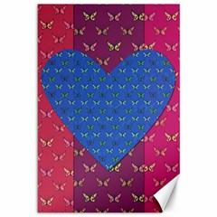 Butterfly Heart Pattern Canvas 12  X 18