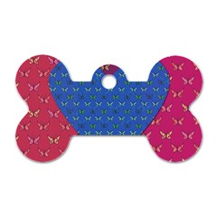 Butterfly Heart Pattern Dog Tag Bone (one Side)