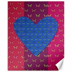 Butterfly Heart Pattern Canvas 11  x 14