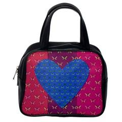 Butterfly Heart Pattern Classic Handbags (One Side)