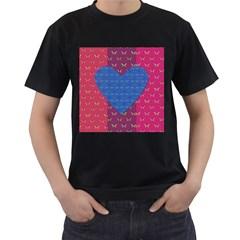 Butterfly Heart Pattern Men s T-Shirt (Black)