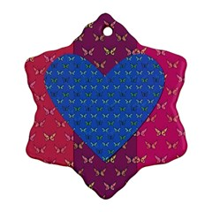 Butterfly Heart Pattern Snowflake Ornament (two Sides)