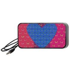 Butterfly Heart Pattern Portable Speaker (Black)