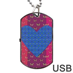 Butterfly Heart Pattern Dog Tag USB Flash (One Side)