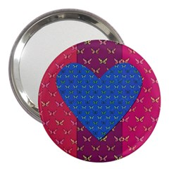 Butterfly Heart Pattern 3  Handbag Mirrors