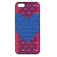 Butterfly Heart Pattern Apple iPhone 5 Seamless Case (Black)