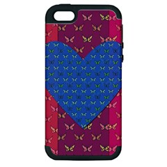 Butterfly Heart Pattern Apple iPhone 5 Hardshell Case (PC+Silicone)