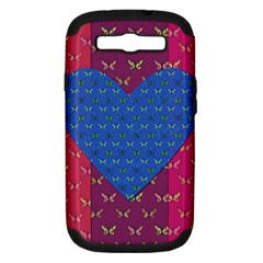 Butterfly Heart Pattern Samsung Galaxy S III Hardshell Case (PC+Silicone)
