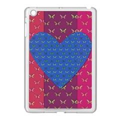 Butterfly Heart Pattern Apple iPad Mini Case (White)