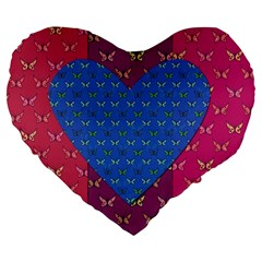 Butterfly Heart Pattern Large 19  Premium Heart Shape Cushions