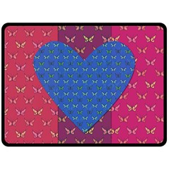 Butterfly Heart Pattern Double Sided Fleece Blanket (Large)