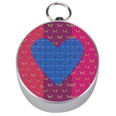 Butterfly Heart Pattern Silver Compasses