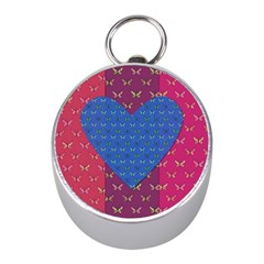 Butterfly Heart Pattern Mini Silver Compasses