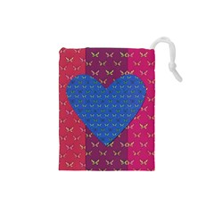 Butterfly Heart Pattern Drawstring Pouches (Small)