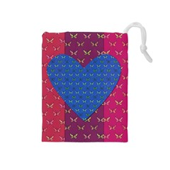 Butterfly Heart Pattern Drawstring Pouches (medium)