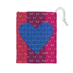 Butterfly Heart Pattern Drawstring Pouches (Large)