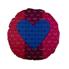 Butterfly Heart Pattern Standard 15  Premium Flano Round Cushions