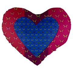 Butterfly Heart Pattern Large 19  Premium Flano Heart Shape Cushions