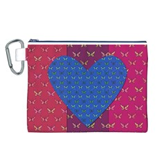 Butterfly Heart Pattern Canvas Cosmetic Bag (L)