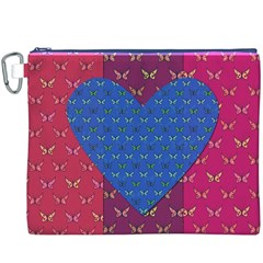 Butterfly Heart Pattern Canvas Cosmetic Bag (XXXL)