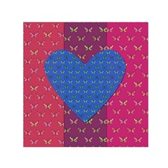 Butterfly Heart Pattern Small Satin Scarf (square)