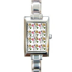 Handmade Pattern With Crazy Flowers Rectangle Italian Charm Watch