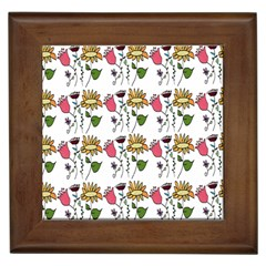 Handmade Pattern With Crazy Flowers Framed Tiles
