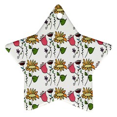 Handmade Pattern With Crazy Flowers Ornament (star)