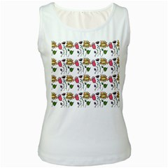 Handmade Pattern With Crazy Flowers Women s White Tank Top