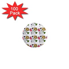 Handmade Pattern With Crazy Flowers 1  Mini Magnets (100 Pack)