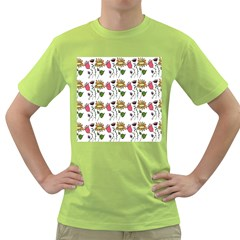 Handmade Pattern With Crazy Flowers Green T-Shirt