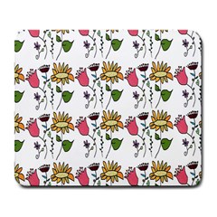 Handmade Pattern With Crazy Flowers Large Mousepads