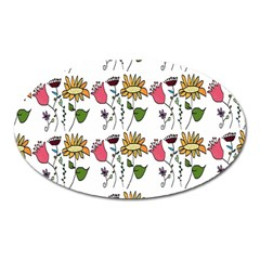 Handmade Pattern With Crazy Flowers Oval Magnet