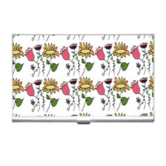 Handmade Pattern With Crazy Flowers Business Card Holders