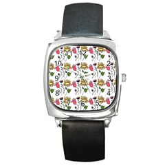 Handmade Pattern With Crazy Flowers Square Metal Watch