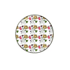 Handmade Pattern With Crazy Flowers Hat Clip Ball Marker (4 Pack)