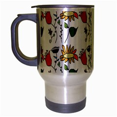 Handmade Pattern With Crazy Flowers Travel Mug (Silver Gray)