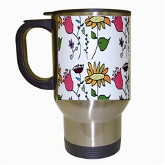 Handmade Pattern With Crazy Flowers Travel Mugs (White)