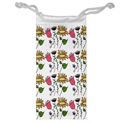 Handmade Pattern With Crazy Flowers Jewelry Bag