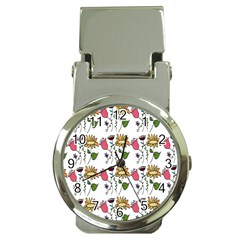 Handmade Pattern With Crazy Flowers Money Clip Watches