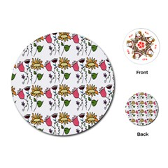 Handmade Pattern With Crazy Flowers Playing Cards (Round)
