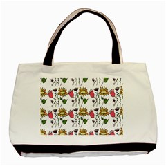 Handmade Pattern With Crazy Flowers Basic Tote Bag