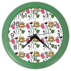 Handmade Pattern With Crazy Flowers Color Wall Clocks