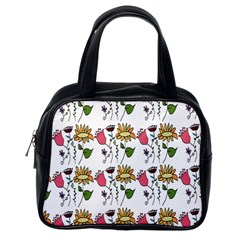 Handmade Pattern With Crazy Flowers Classic Handbags (one Side)