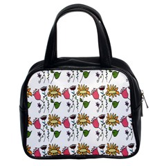 Handmade Pattern With Crazy Flowers Classic Handbags (2 Sides)