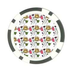 Handmade Pattern With Crazy Flowers Poker Chip Card Guard (10 pack)